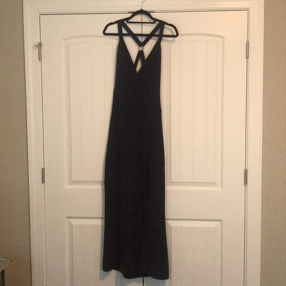 NBD Dresses & Skirts - Navy floor length dress. High leg slit. Size M